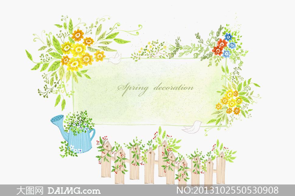 边框花边植物花朵