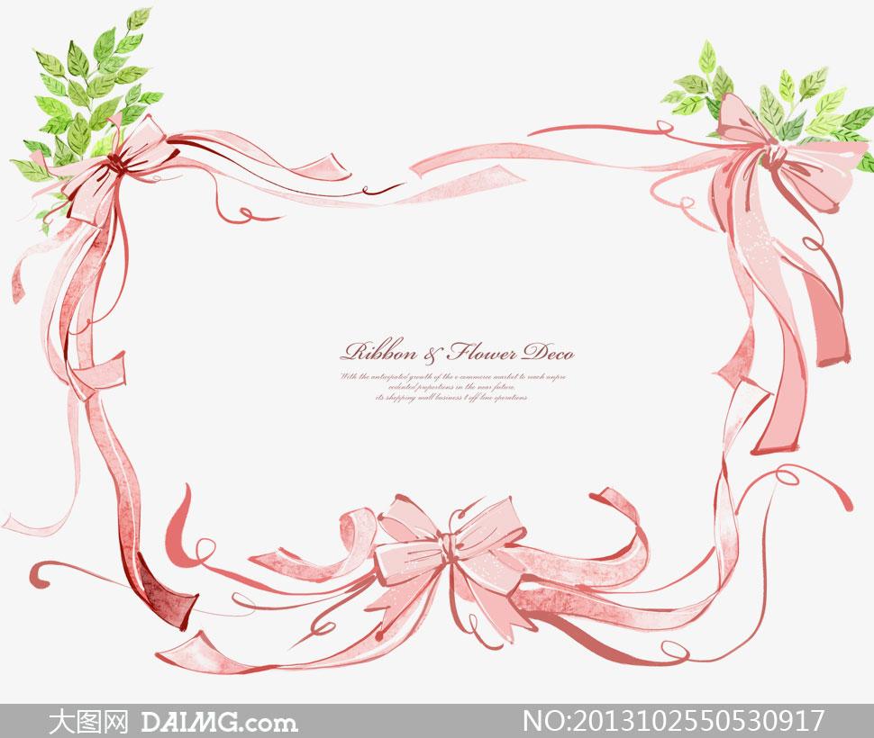 绿叶与粉红色丝带边框psd分层素材