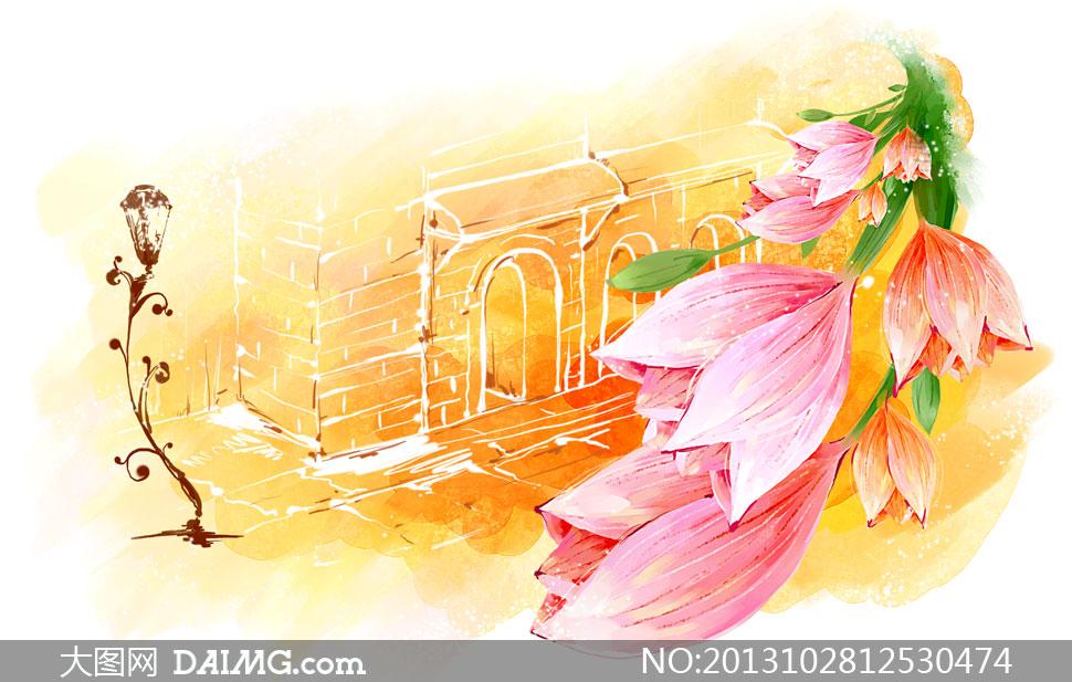 图案花朵花卉手绘花束房子房屋红色绿叶黄色拱形门砖墙墙壁线描素描
