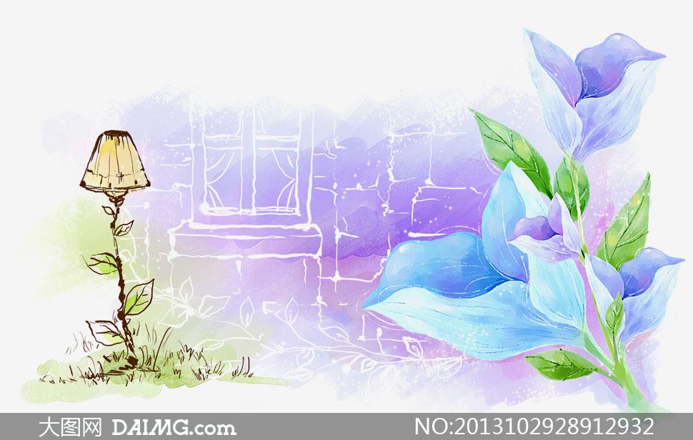 紫色花边铅笔画-花朵窗户唯美插画设计PSD分层素材