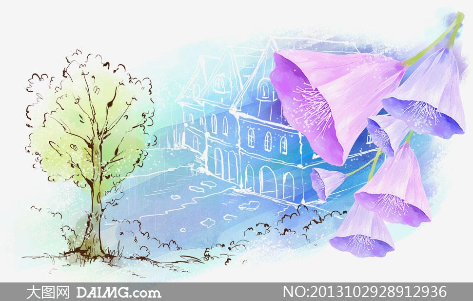 紫色花与房子树木素描psd分层素材