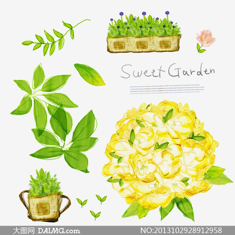 花朵植物绿叶手绘插画psd分层素材