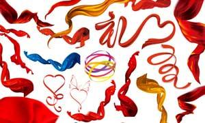 各种各样的红绸缎和飘带PSD分层素材