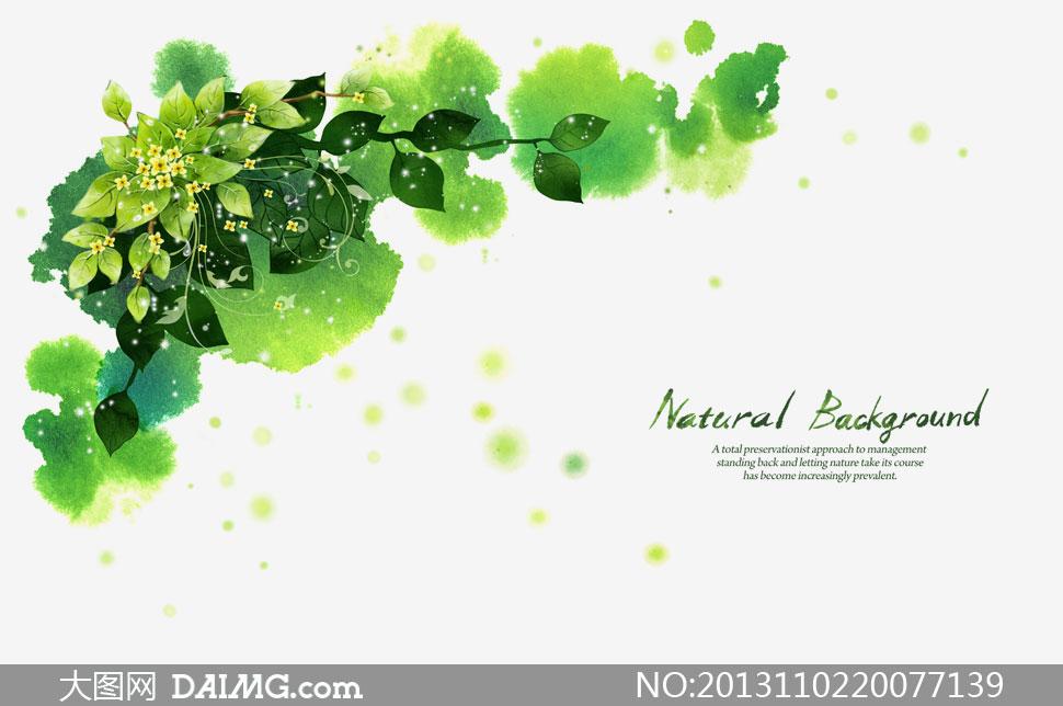 绿叶树枝花朵墨点图案psd分层素材