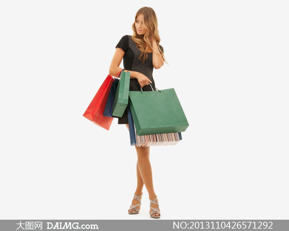 长腿长发购物美女人物摄影高清图片