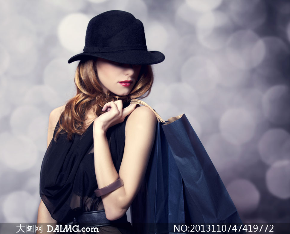 戴礼帽的红唇时装美女摄影高清图片 大图网设