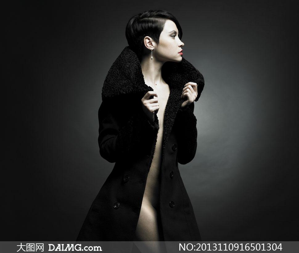 穿皮草大衣的性感美女摄影高清图片 大图网设