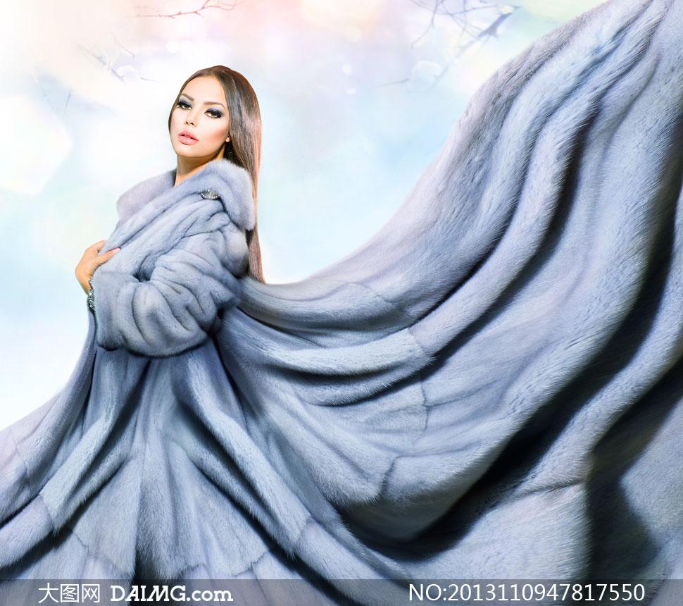 冬装裘衣长发美女人物摄影高清图片