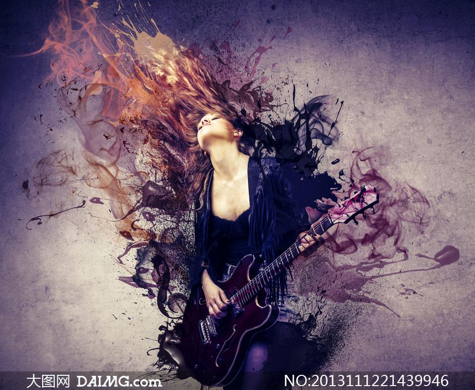 怀抱着吉他演奏的美女创意高清图片