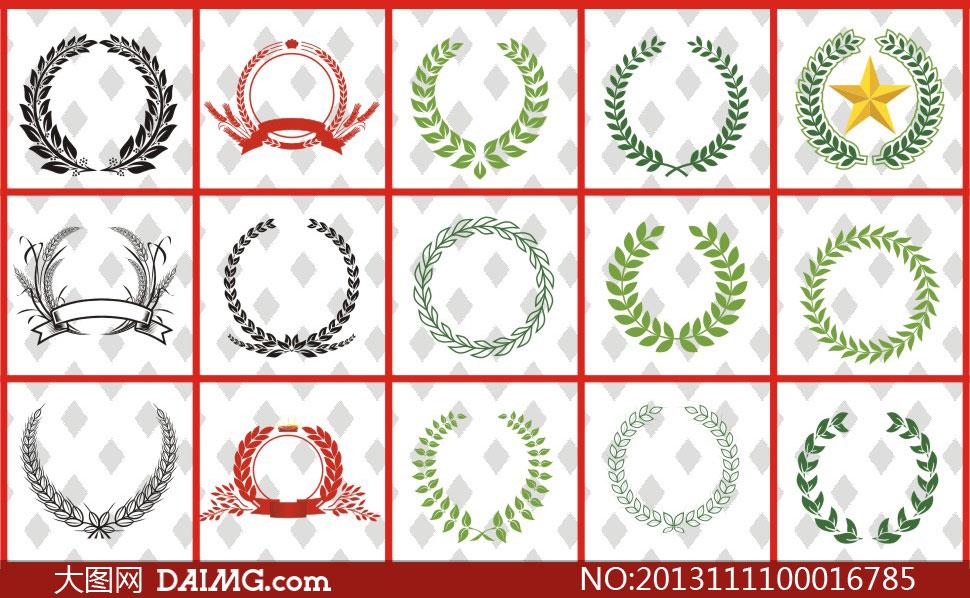 各种形状的麦穗花纹设计矢量素材