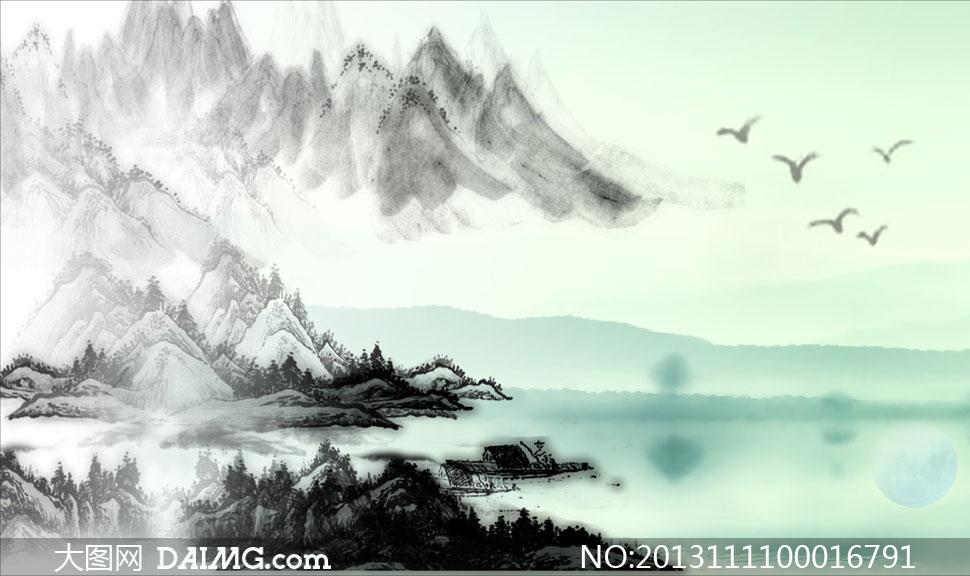 中国风水墨背景画设计矢量素材 - 大图网设计素