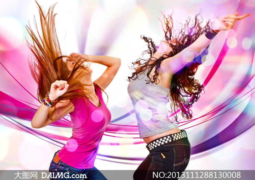 炫丽曲线与跳舞的美女创意高清图片 大图网设