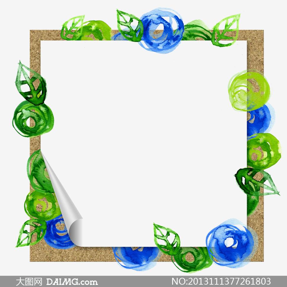 绿叶装饰水彩边框设计psd分层素材 大图网设计