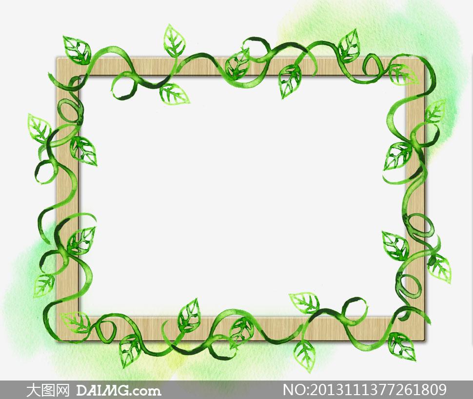 绿叶藤蔓装饰边框设计psd分层素材