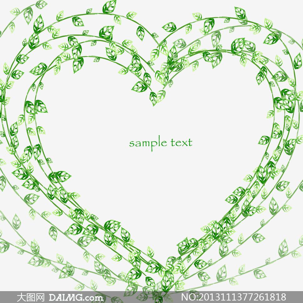 绿色叶子装饰心形边框psd分层素材
