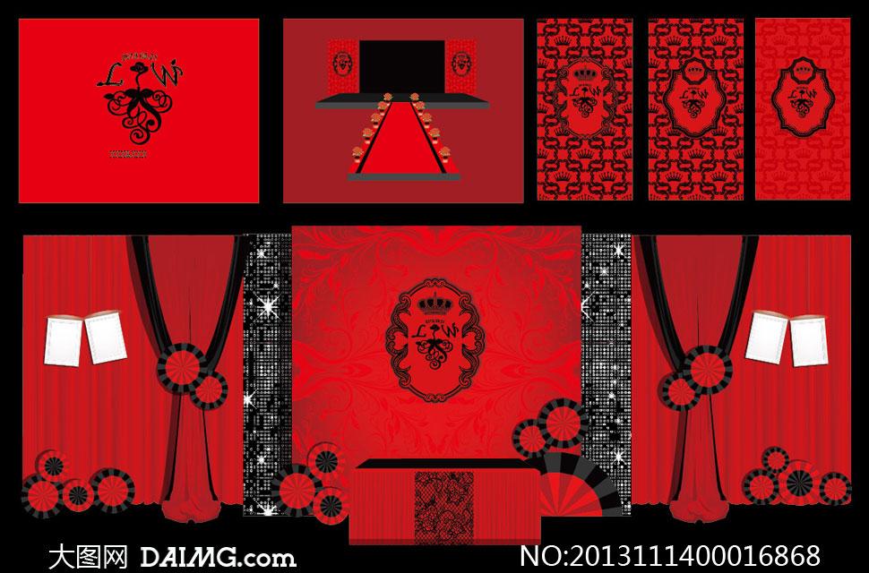 喜庆的婚礼背景设计矢量素材