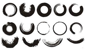中国传统毛笔墨迹设计矢量素材