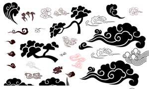 传统黑白古典祥云设计PSD素材