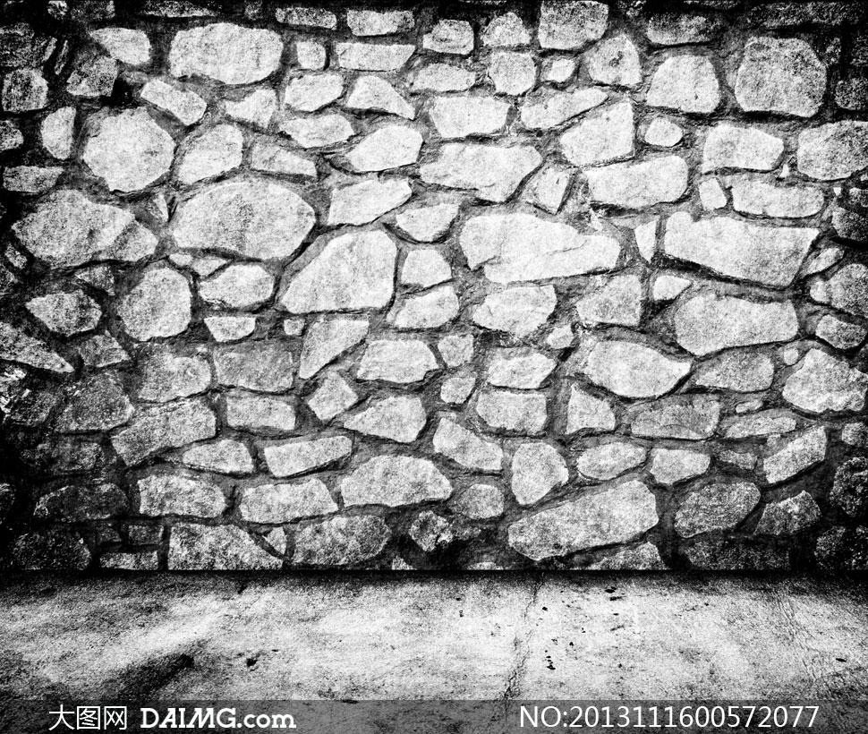 灰白色石砌墙空间场景摄影高清图片