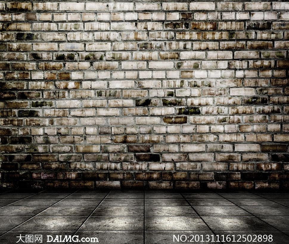 高清摄影大图图片素材背景空间场景墙壁墙面颓废地面砖墙怀旧复古