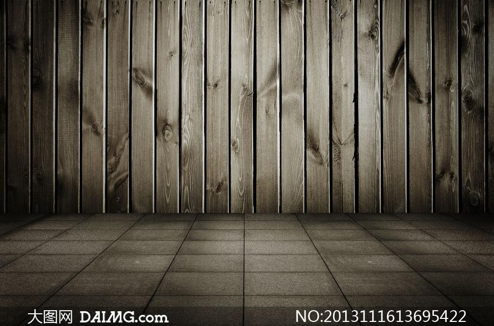木板墙与石质地面近景摄影高清图片图片
