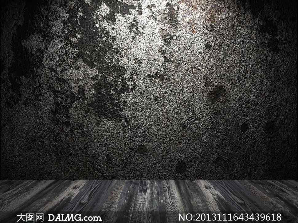 光照效果斑驳墙壁近景摄影高清图片