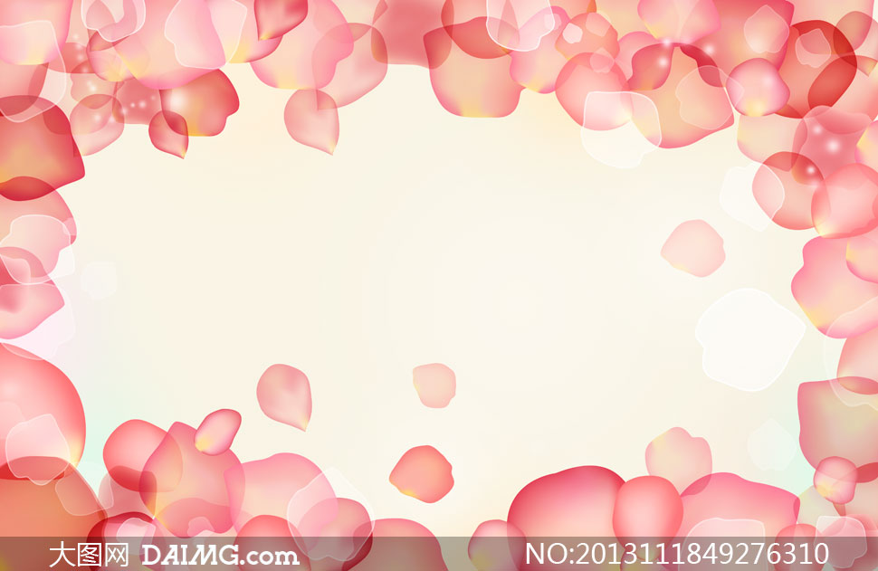 粉红色的抽象花朵边框psd分层素材