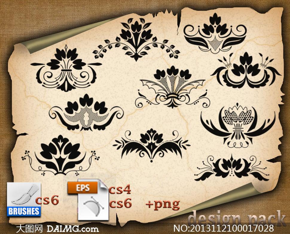 欧式对称花纹装饰笔刷