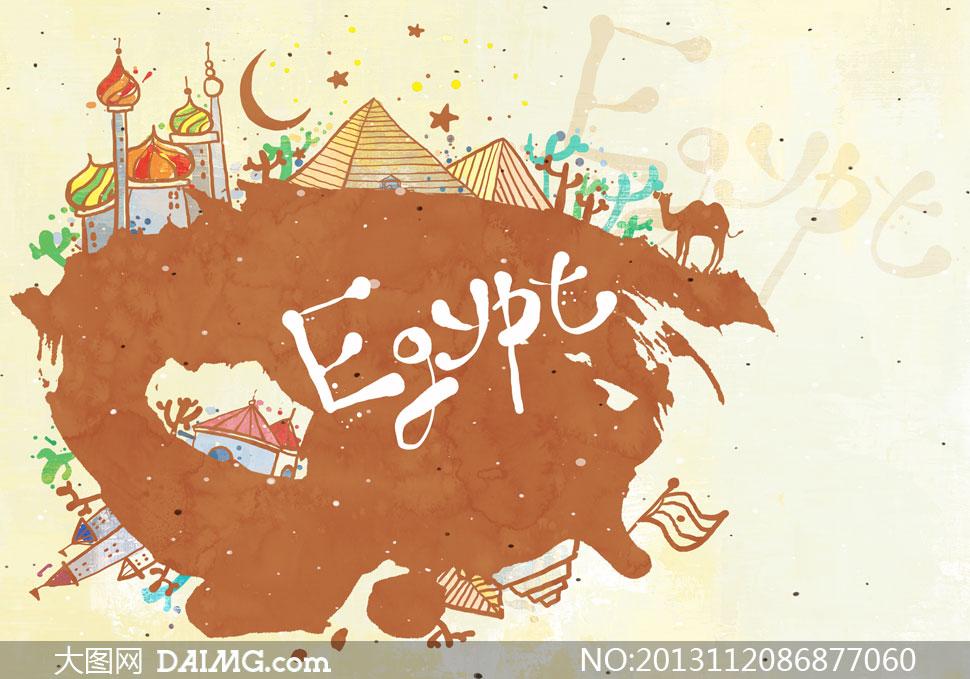手绘墨迹墨痕房子房屋建筑物墨点喷溅泼墨旅游骆驼金字塔月牙月亮埃及