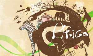 非洲大象狮子墨迹图案PSD分层素材