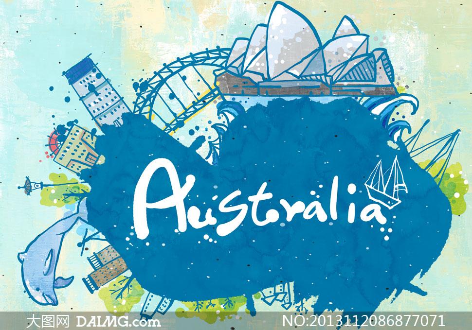 素材tua手绘墨迹墨痕房子房屋建筑物墨点喷溅泼墨旅游悉尼澳大利亚