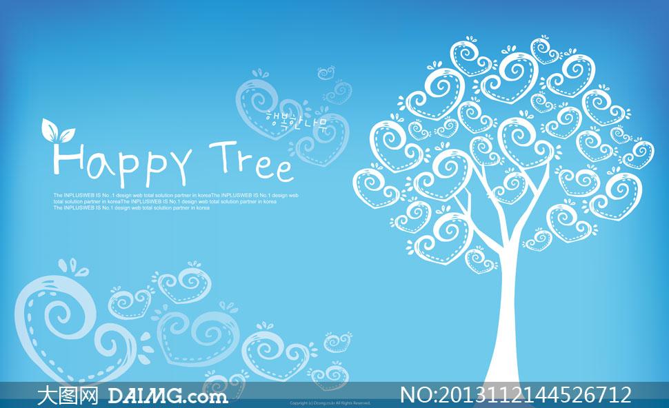蓝色背景可爱心形树木psd分层素材
