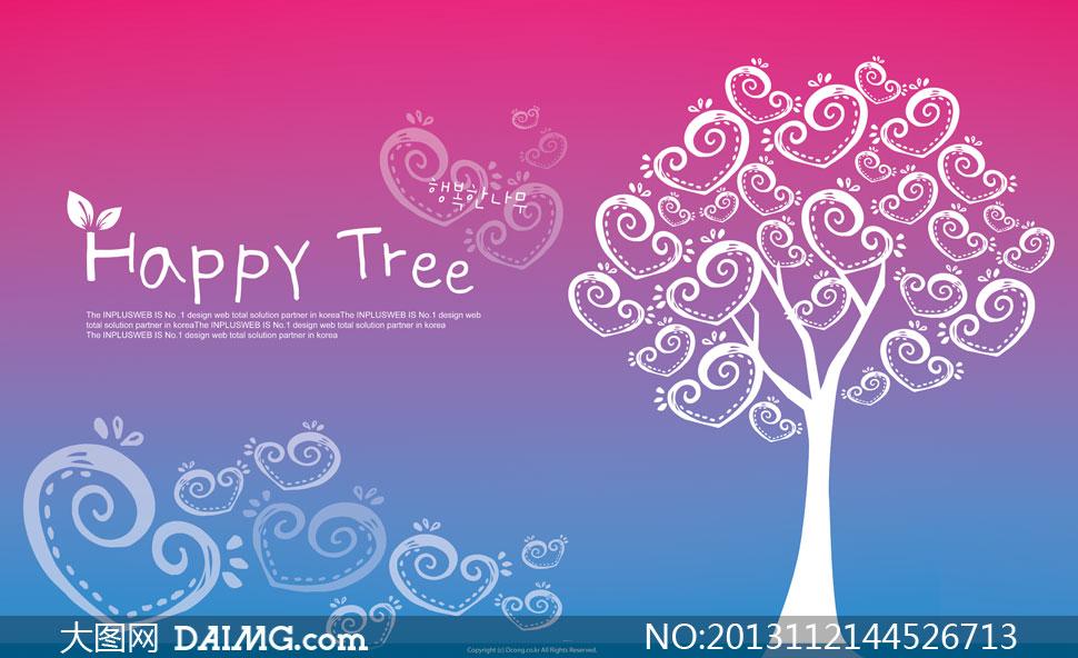 紫蓝色背景与心形树木psd分层素材