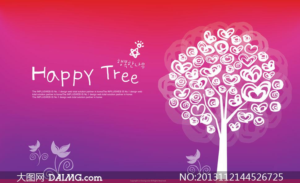 红色紫色背景树木创意psd分层素材