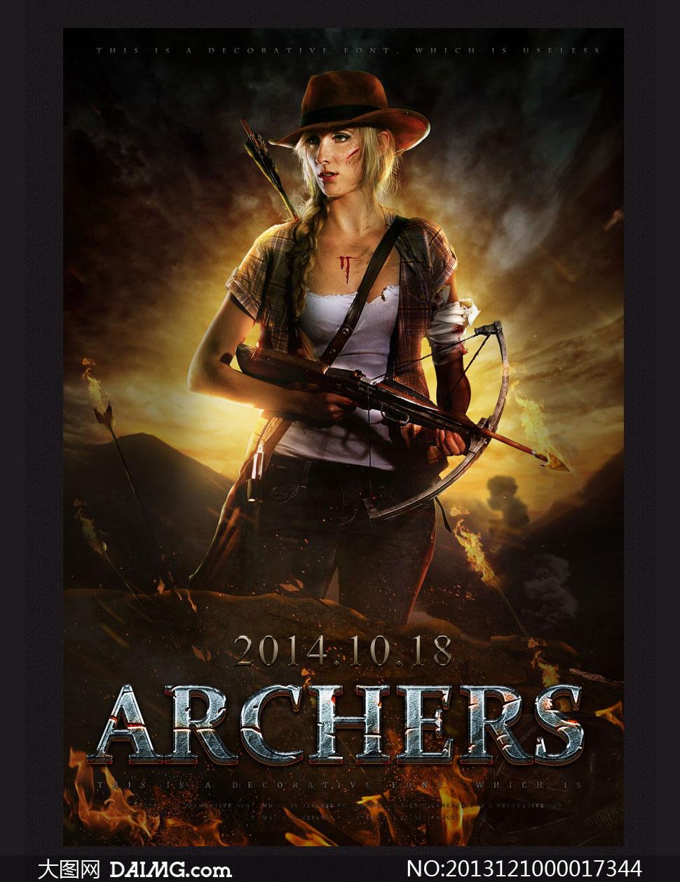 设计教程电影海报超酷绚丽火焰战争场景羽毛箭人物战士女战士山川河流