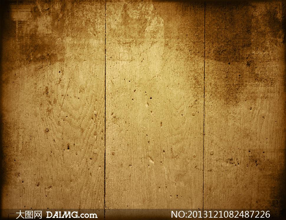 近景特写底纹背景木纹木板条竖向排列复古怀旧颓废泛黄纹理材质纵向