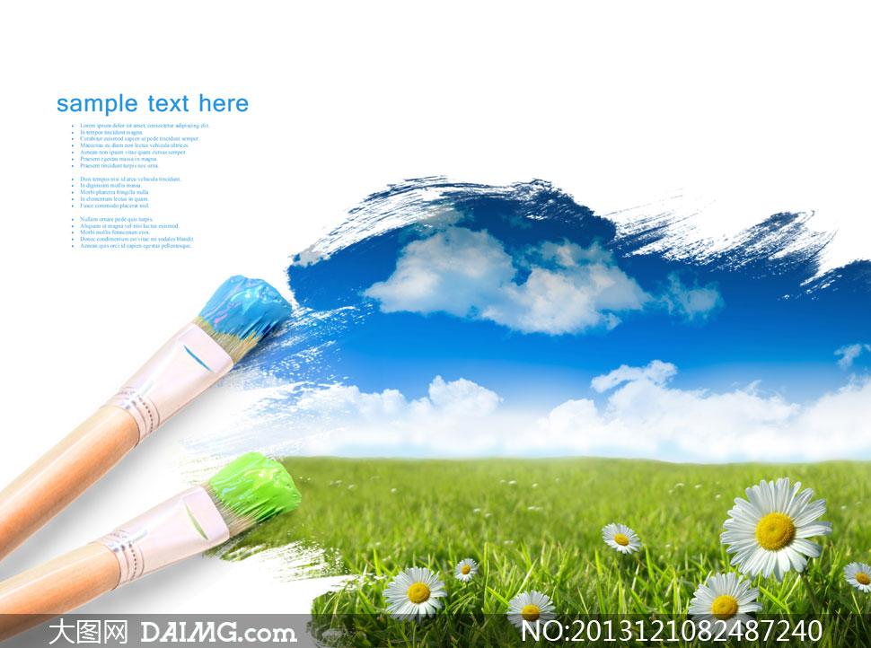 颜料笔与草丛里的菊花摄影高清图片