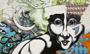 墙壁上的涂鸦喷绘作品摄影高清图片