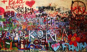 墙面上的乱画涂鸦艺术摄影高清图片