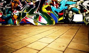 街道围墙上的涂鸦绘画摄影高清图片