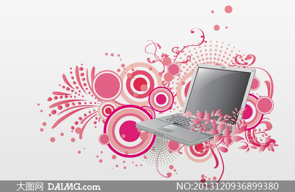 笔记本电脑与时尚图案psd分层素材 - 大图网设计素材