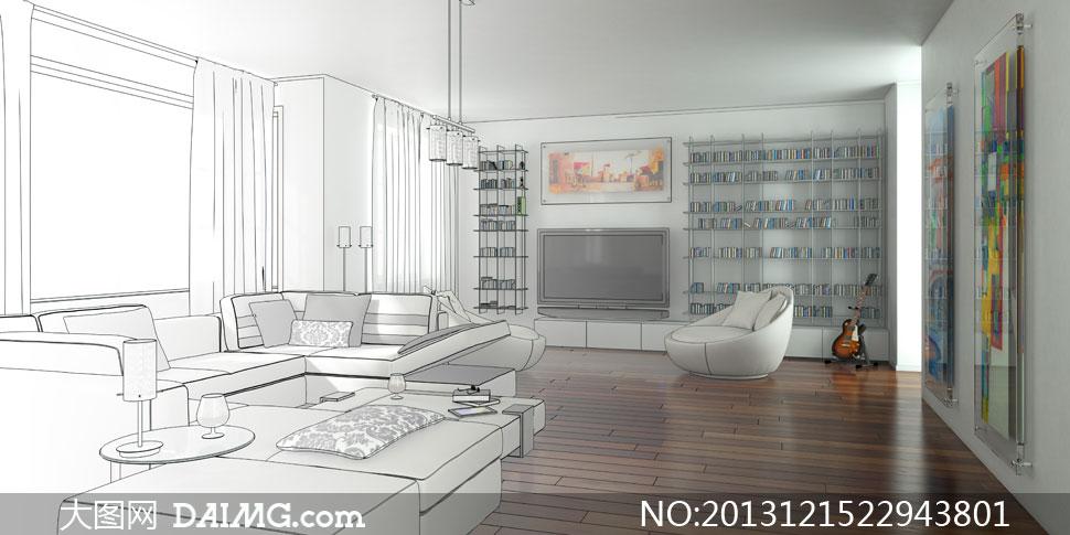 客厅手绘草图沙发茶几木地板吉他书架电视机装饰画