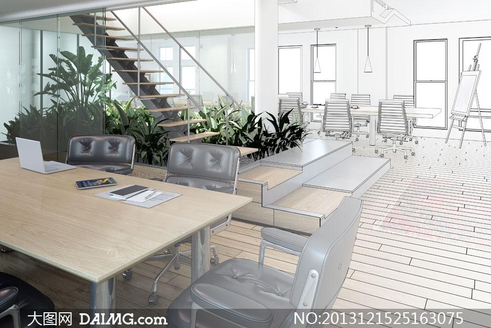 会议室桌椅等草图效果创意高清图片