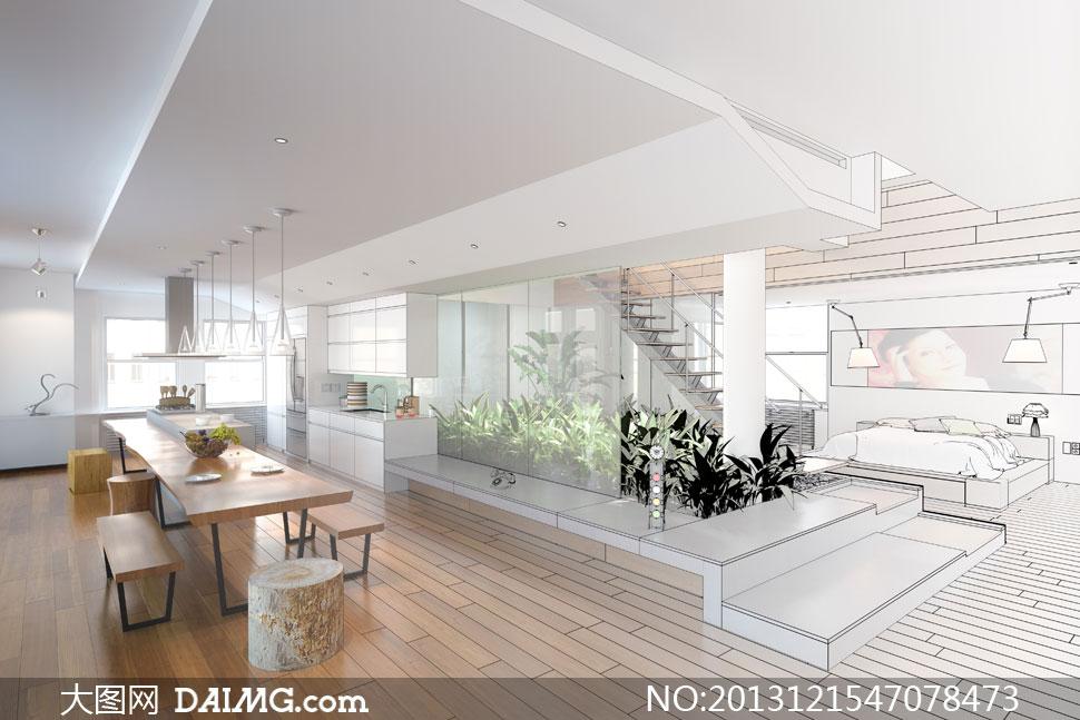 陈列家具卧室手绘草图楼梯灯具桌子凳子餐桌餐厅厨房