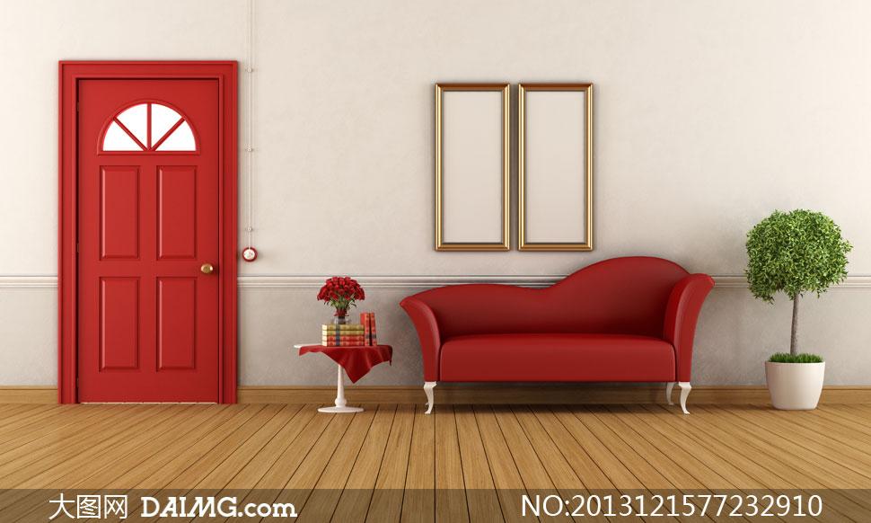 效果图陈设摆设陈列家具金色相框房门红色书籍花瓶插花绿色植物木地板