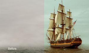 帆船照片高对比度效果调色动作