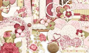 玫瑰花朵丝带边框等欧美剪贴素材