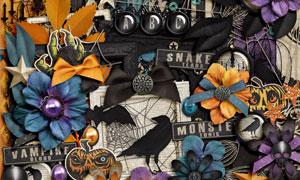 蝙蝠蝴蝶结与布花等欧美剪贴素材