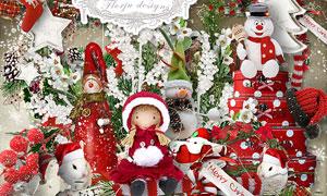玩具小熊圣诞老人等欧美剪贴素材