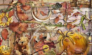 枯叶边框花朵丝带等欧美剪贴素材